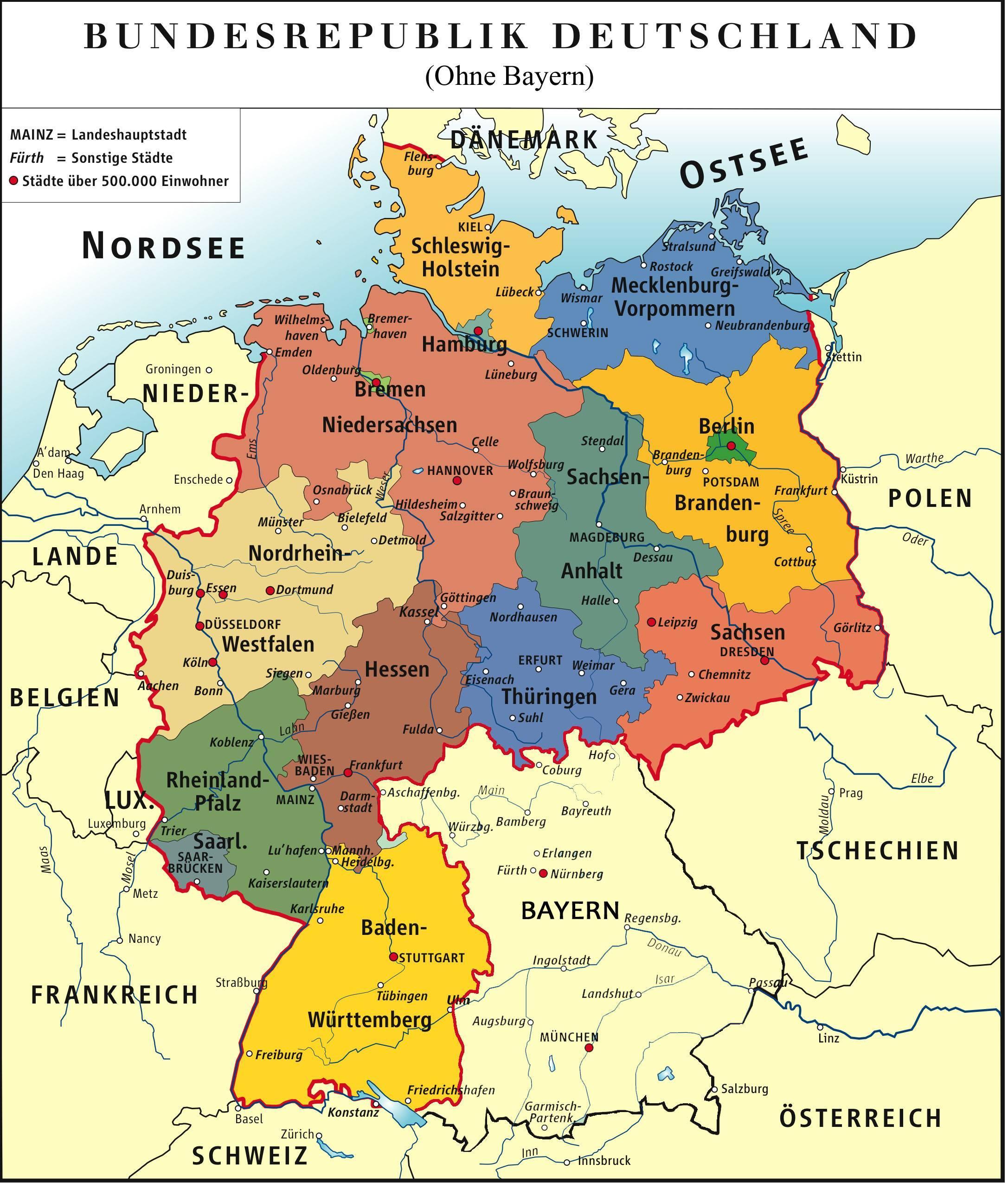 Bayern Tyskland Karta Bayern Munchen Karta Bayern I Tyskland