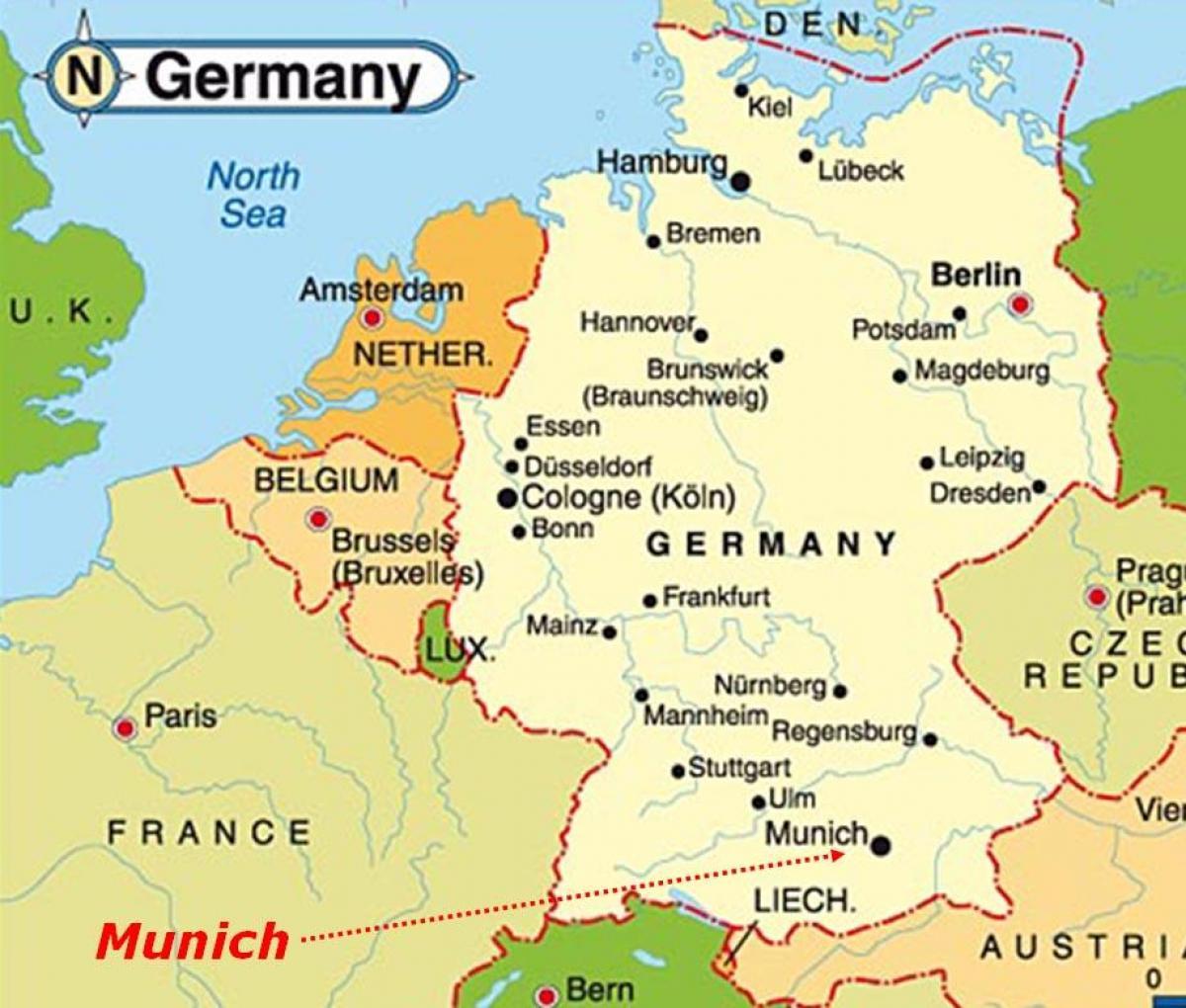 Munchen Karta Europa Karta I Munchen Europa Bayern I Tyskland